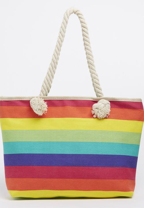 b12f472e8ac Rainbow Striped Beach Bag Multi-colour Joy Collectables Bags ...