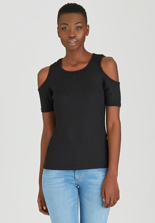 30c2dab14b510 Cold Shoulder Ribbed T-shirt Black STYLE REPUBLIC T-Shirts