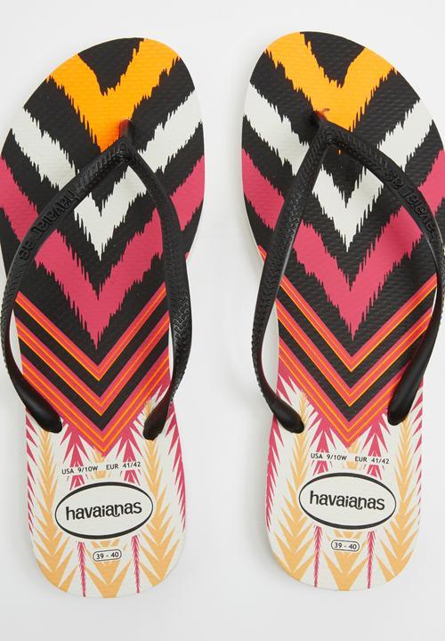 8c8f24bac0ccf Slim Tribal Havaiana Flip Flops Black and White Havaianas Sandals ...