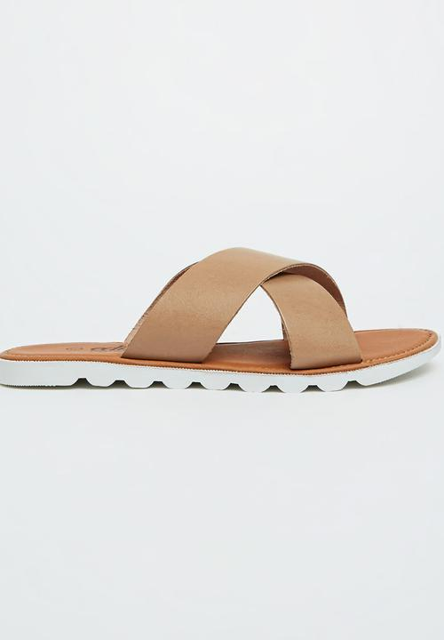 bced54aadc4 Leather Crossover Sandals Neutral edit Sandals   Flip Flops ...