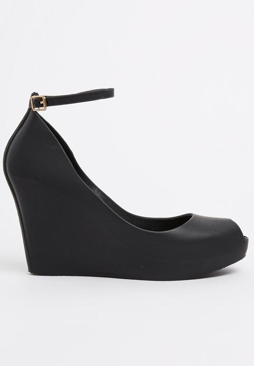 bf5a5bdbe Jelly Ankle-strap Wedges Black Urban Zone Heels