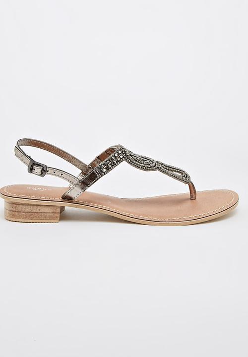 769868ca52f9 Leather Embellished Sandals Dark Grey Queue Sandals   Flip Flops ...