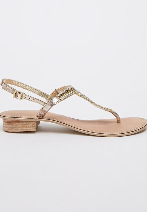 1c54e7faf330 Leather Embellished Sandals Gold Queue Sandals   Flip Flops ...