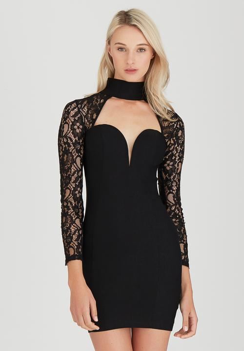 3216badd2063 Lace Choker Bodycon Dress Black Rare London Formal