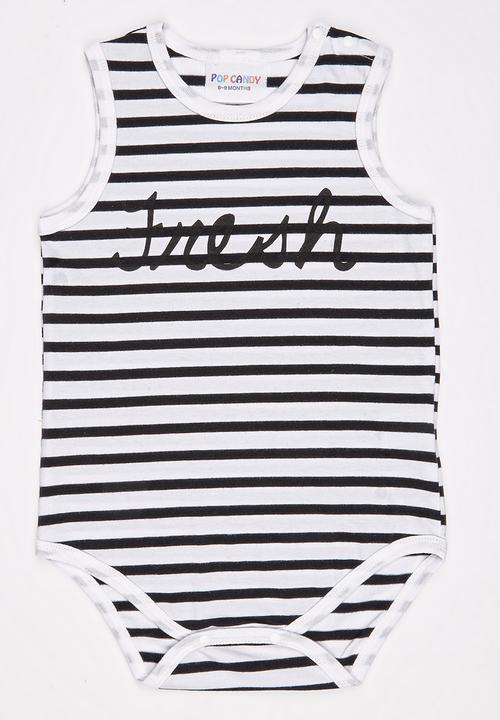 f4894d95ebb22 Stripe Sleeveless Bodysuit Black and White POP CANDY Babygrows ...