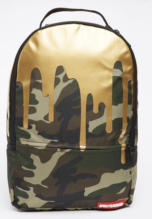 24563013dc Gold Camo Drip Amanda Du Pont Backpack Black Sprayground Bags ...