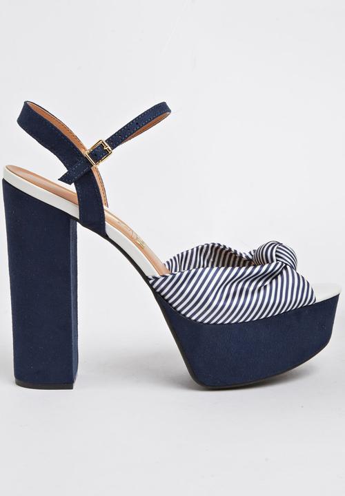 b659319922d Platform Ankle-strap Heels Blue and White Vizzano Heels ...
