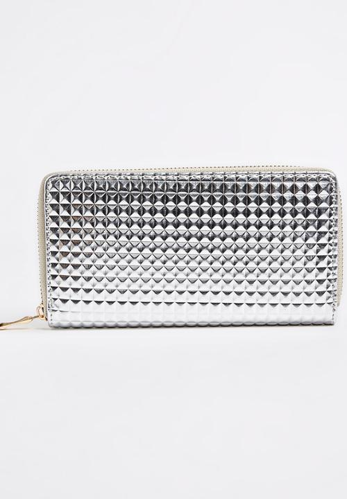 4befc2c3f80d Pyramid Embossed Zip-around Purse Silver STYLE REPUBLIC Bags ...