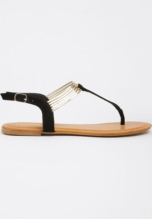 fcc8460c6c7b Natasha Black Zoom Sandals   Flip Flops