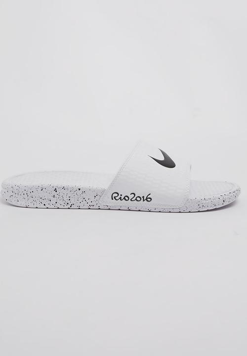 7d238d3a037ef Rio16 Benassi Swoosh Sandals White Nike Sandals   Flip Flops ...
