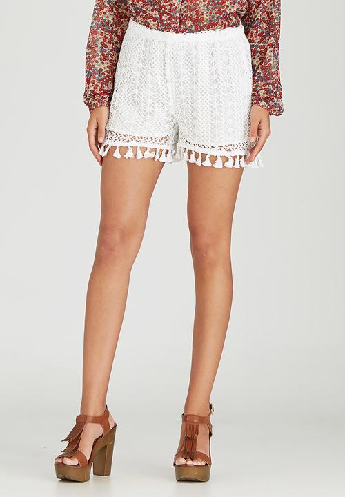 Crochet Short With Tassels White Brave Soul Shorts Superbalistcom