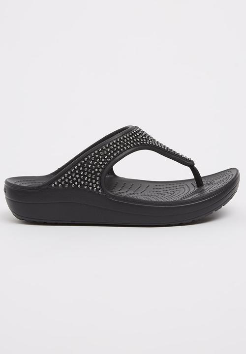 b1754c738fa6 Sloane Diamante Flip-flops Black Crocs Sandals   Flip Flops ...