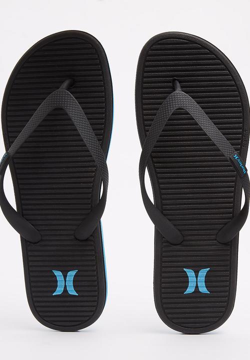 aeab53c16 One Shot Rubber Sandals Black and Blue Hurley Sandals   Flip Flops ...