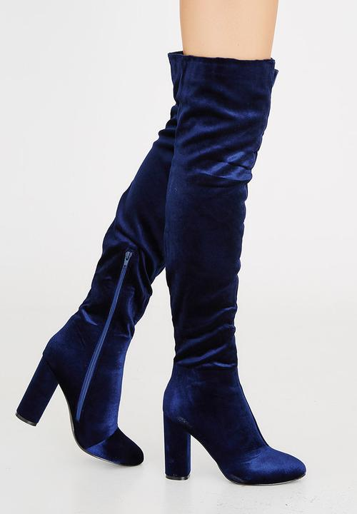4a5186ab6 Velvet Thigh-high Boots Blue Sassoon Boots | Superbalist.com