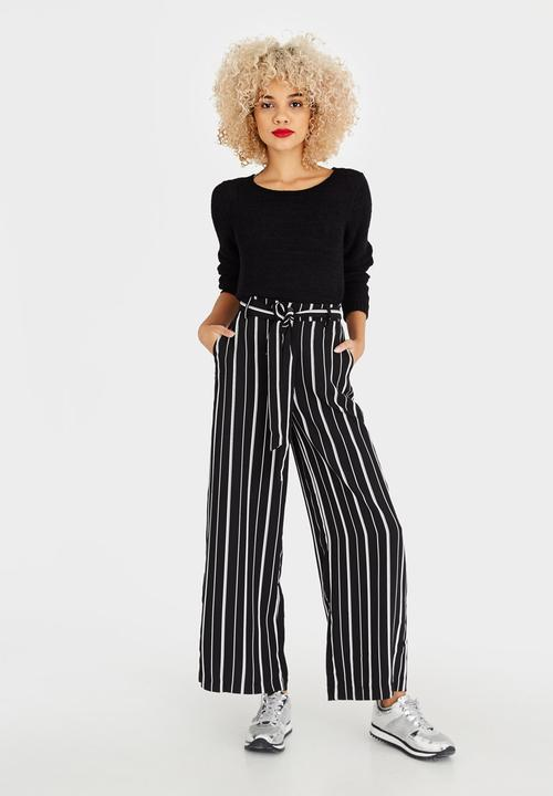9e98ba6d802796 Parker Stripe Wide Leg Pants Black and White ONLY Trousers ...