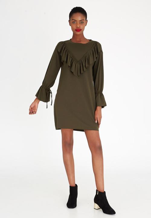 5a174b771e4e Bell Sleeve Sweater Dress Dark Green STYLE REPUBLIC Casual ...