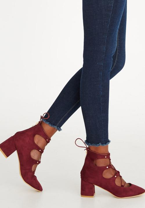 819e08679ac Emilia Lace-up Heels Dark Red