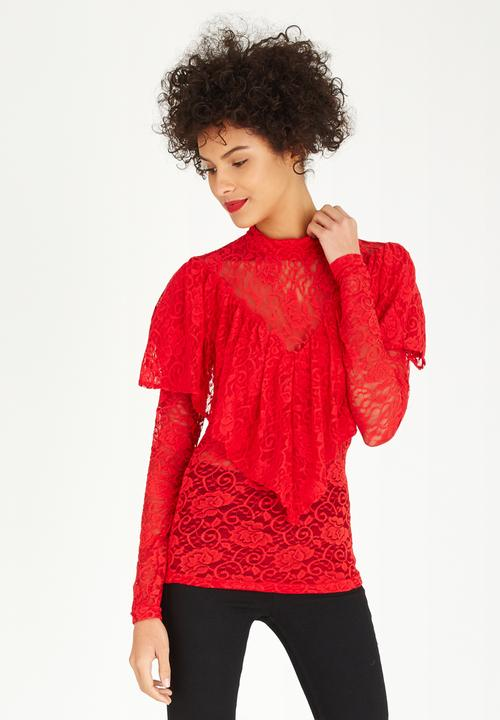 14f0afedf5ca2d Lace Frill Top Red STYLE REPUBLIC T-Shirts, Vests & Camis ...