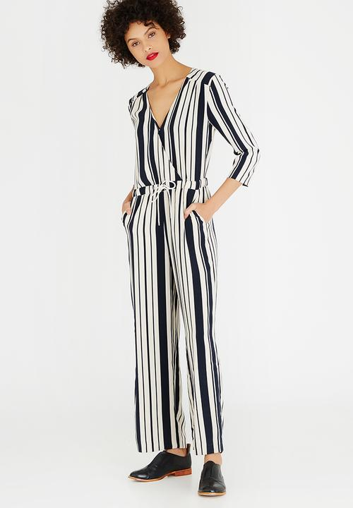 Alva Striped Jumpsuit Navy White Only Jumpsuits Playsuits