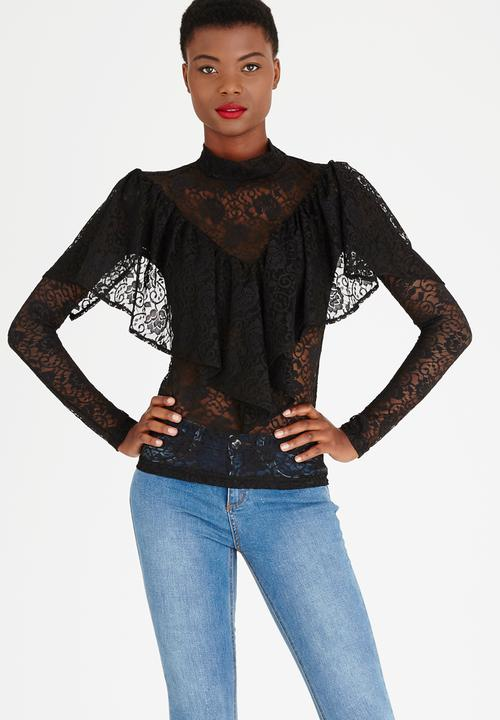 f38c8e5afa447a Lace Frill Top Black STYLE REPUBLIC T-Shirts, Vests & Camis ...
