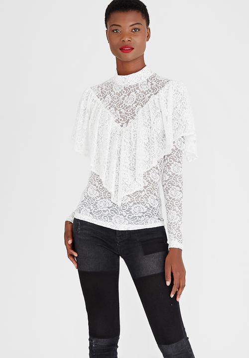 30dfc5d6f573ff Lace Frill Top Cream STYLE REPUBLIC T-Shirts, Vests & Camis ...