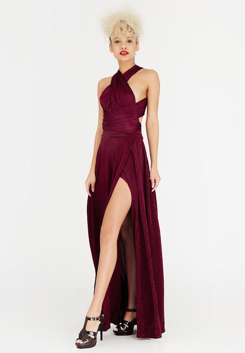 2a4a3e00405 Multi Wrap Dress Burgundy Bombshell Occasion