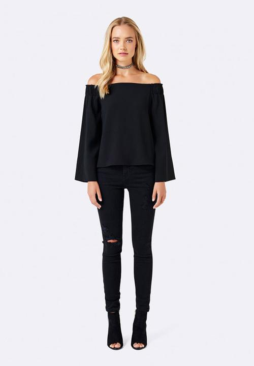 8d8317fc347ad Issy Off Shoulder Flare Sleeve Top Black Forever New Blouses ...