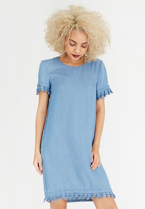 4ee595dbaa8 Dita Tassel Detail Dress Mid Blue Noisy May Casual