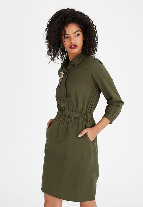 5e7b32507b97 Badge Detail Shirt Dress Khaki Green Vero Moda Formal