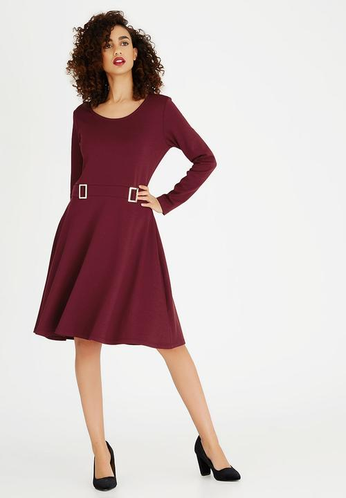 546b64ad5f Long-sleeve Fit and Flare Dress with Buckle Detail Burgundy edit ...