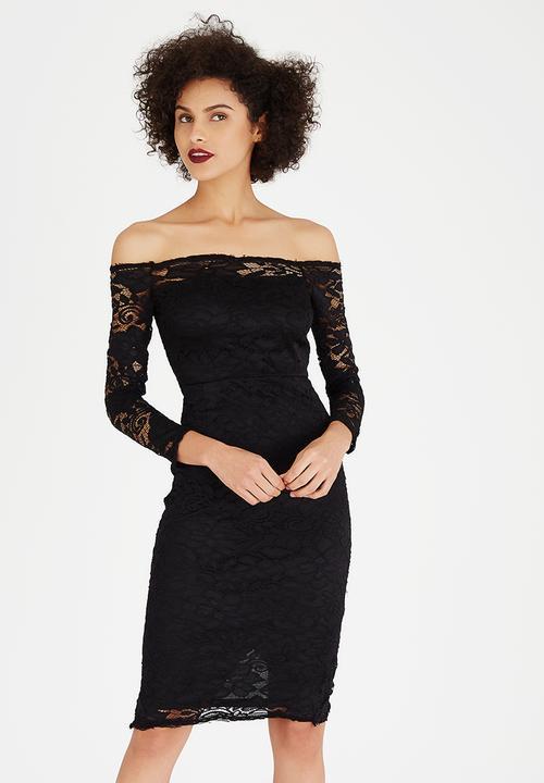 5dccacef427fd Lace Off the Shoulder Bodycon Dress Black AX Paris Occasion ...