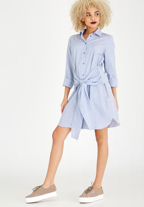 c84aacd7da Striped Tie Front Shirt Dress Blue and White STYLE REPUBLIC Casual ...