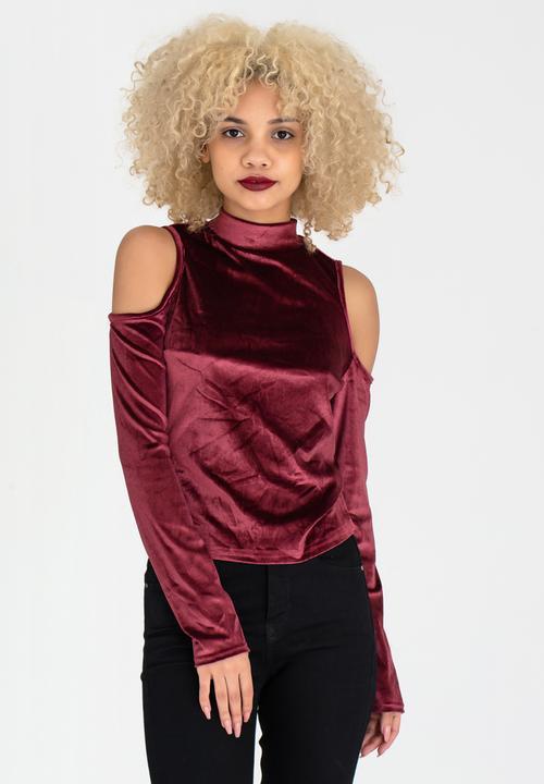 5bfc6f5ee16f5 High Neck Cold Shoulder Top Burgundy c(inch) T-Shirts