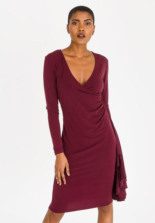 dac7a3dec367 Long Sleeve Wrap Over Dress with Frills - dark red edit Formal ...