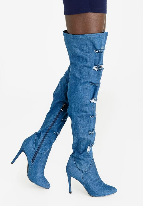 11e3082b0 Anya Thigh High Boots Blue Miss Black Boots | Superbalist.com