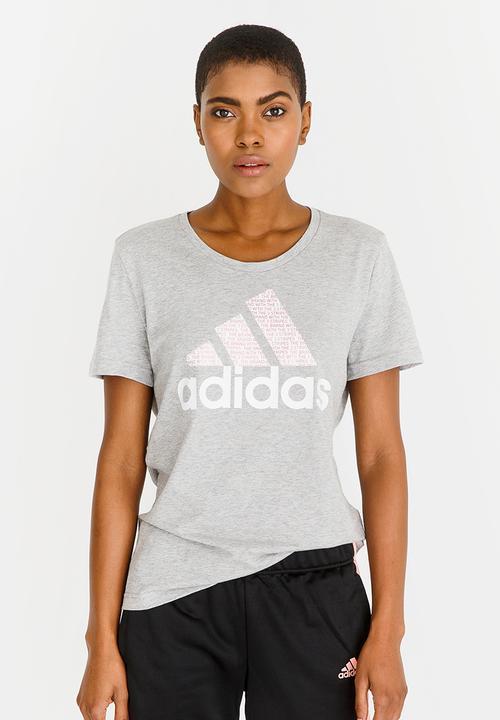 Foil Text Tee Grey Adidas T-Shirts  2a1bd1d4bba4