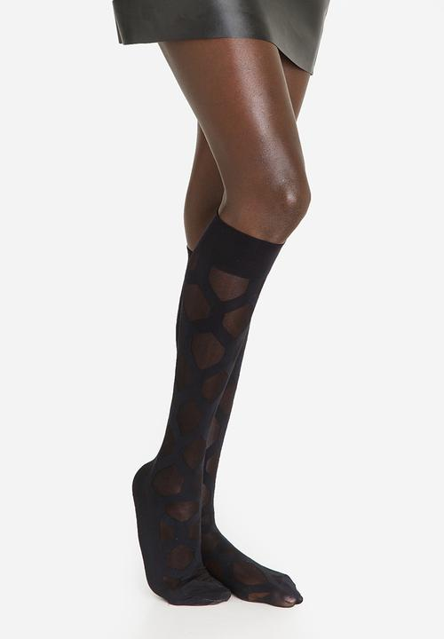 bf0f3fb3ca3 Hexagon Knee-high Black Falke Stockings   Socks