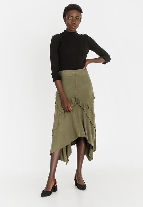 20e30f27af1e Maxi Asymmetric Skirt Dark Green edit Skirts   Superbalist.com