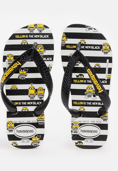 972ce99a4797 Kids minions sandals - black and white Havaianas Shoes
