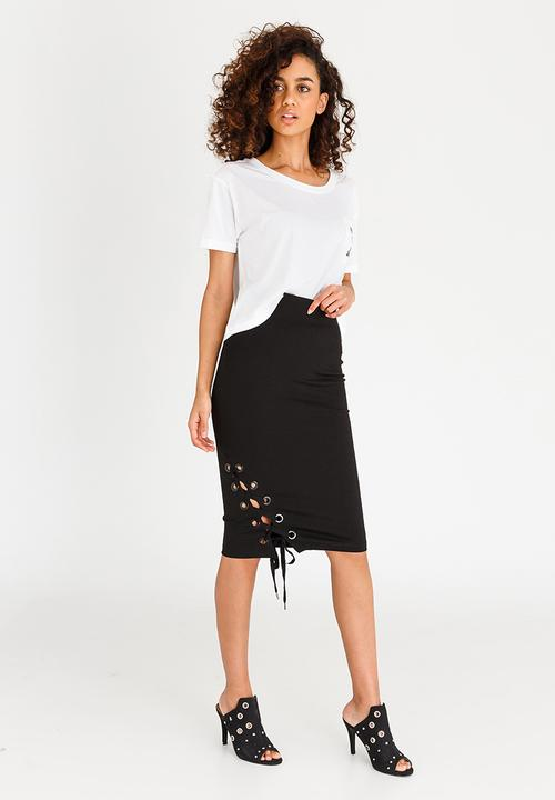 b92a0aebc Guess Pia Lace-up Midi Skirt Black GUESS Skirts | Superbalist.com
