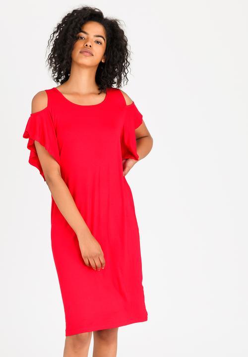 95c320c15d6 Cold-shoulder Shift Dress Red edit Casual