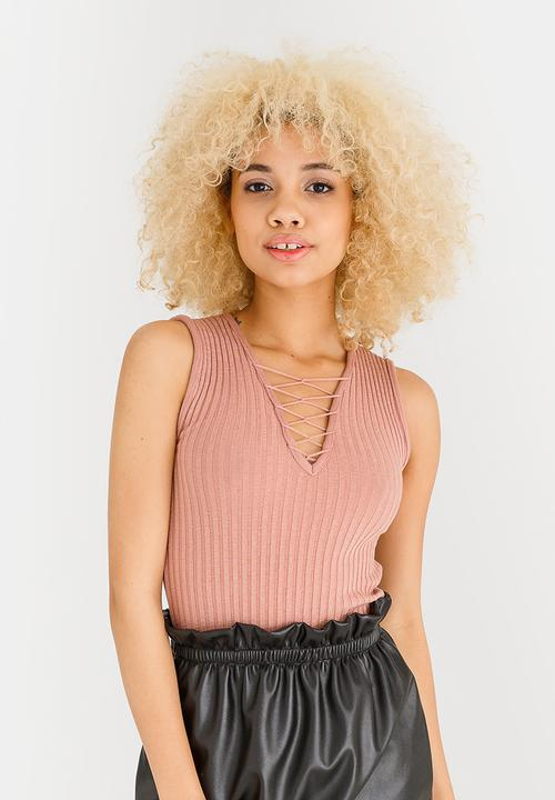 4c16719c18 Ribbed Lace Up Top Pale Pink c(inch) T-Shirts