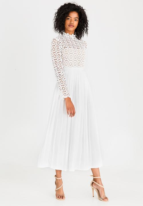a48da08c14 Midi Dress with Pleated Skirt and Crochet Top White Little Mistress ...