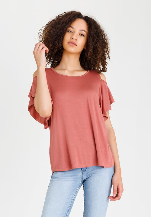55f9151e386467 Cold-shoulder Top Pale Pink edit T-Shirts