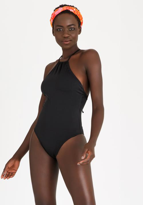 6aa7de5631611 Halter One Piece with Low Back Black Lithe One Piece