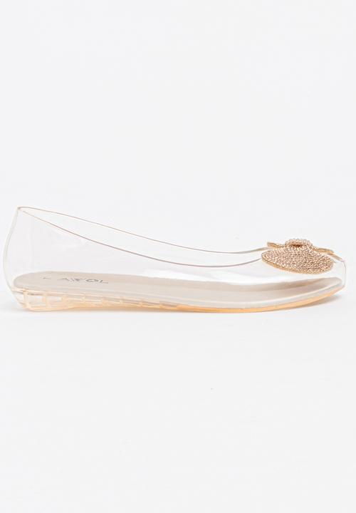 6295b2fd675f Jelly Diamante Bow Pumps Clear Candy s Pumps   Flats
