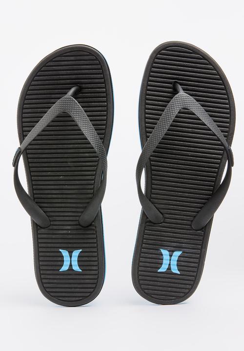453bd314e One Shot Sandal Black and Blue Hurley Sandals   Flip Flops ...