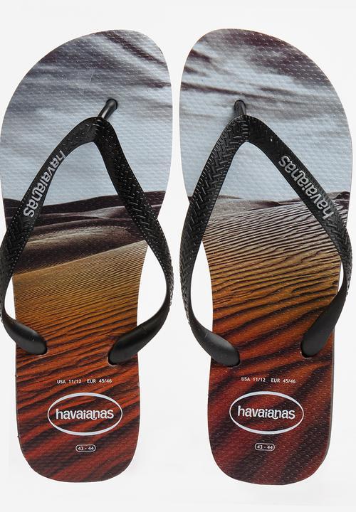 6b6d7c09fa1717 Hype Photo Print Flip Flops Black Havaianas Sandals   Flip Flops ...