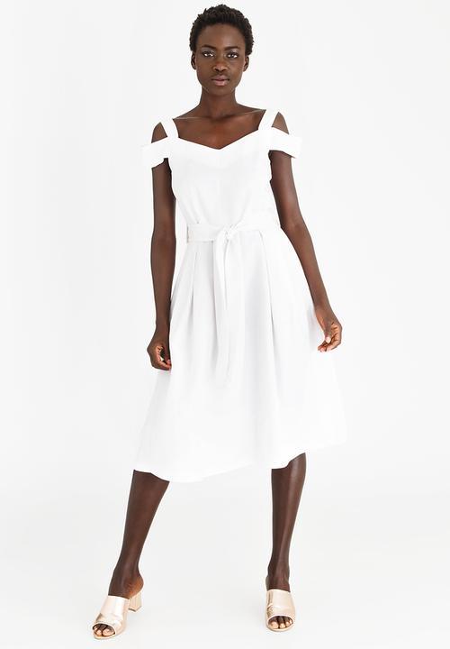 6764695b1e6 Linen Blend Cold Shoulder Fit and Flare Dress White edit Formal ...