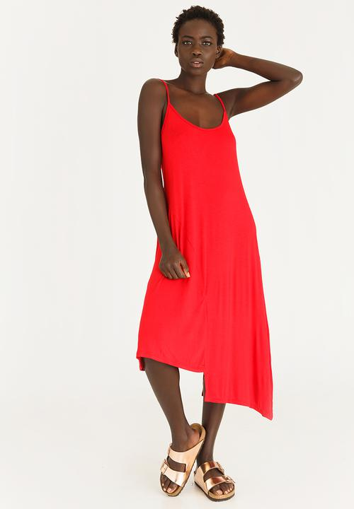 9991c35dee16 Asymmetrical Swing Dress Red STYLE REPUBLIC Casual